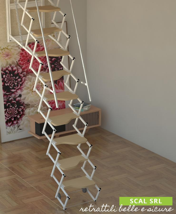 retrattile a soffitto e gradini in legno