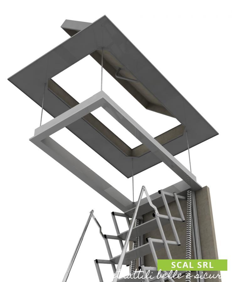 scala retrattile per terrazzo con cassone coibentato